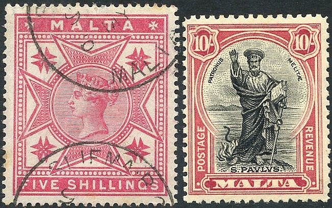 1886 5s rose VFU, SG.30 & 1930 10s black & carmine fine M, SG.209