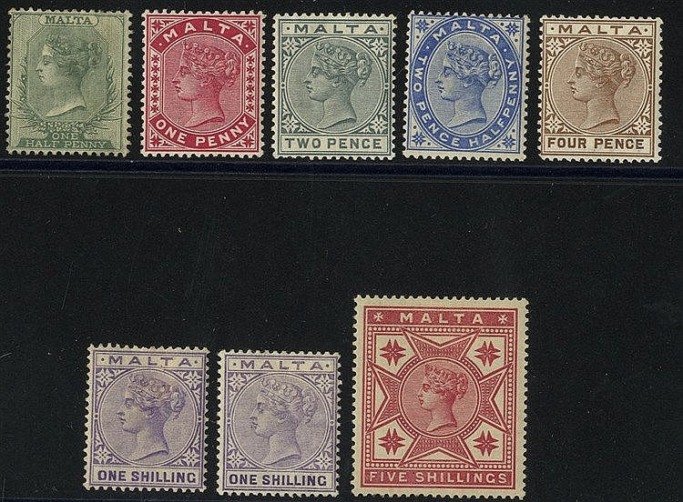 1885-90 CCA set M incl. both 1s shades (note - ½d value is unused