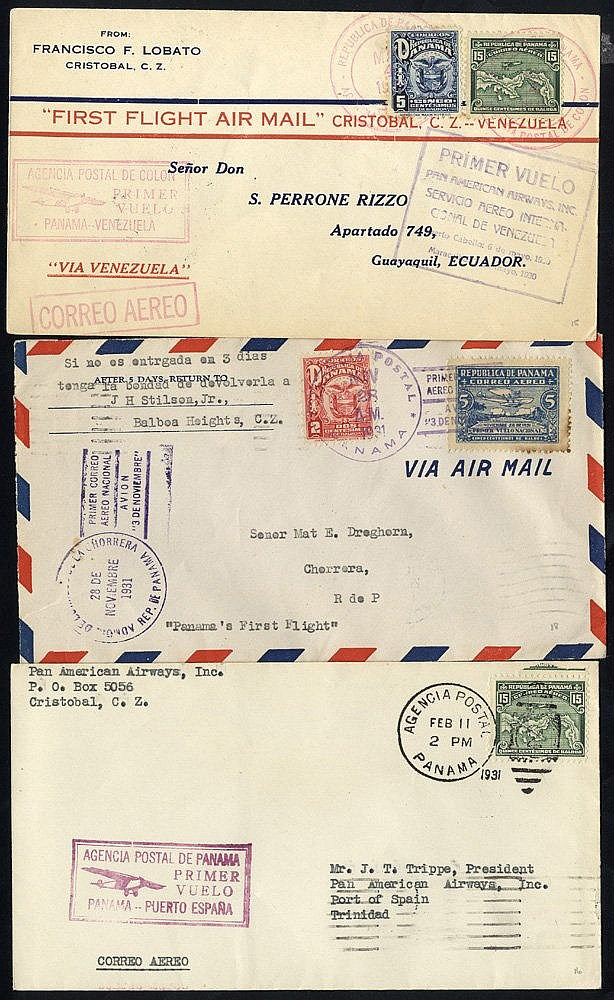 1930-46 first flight covers, PAA Colon/Puerto Cabello - Venezuela