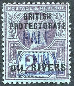 1893 (Type 4) ½d in blue on 2½d purple on blue, M (trace of a cre