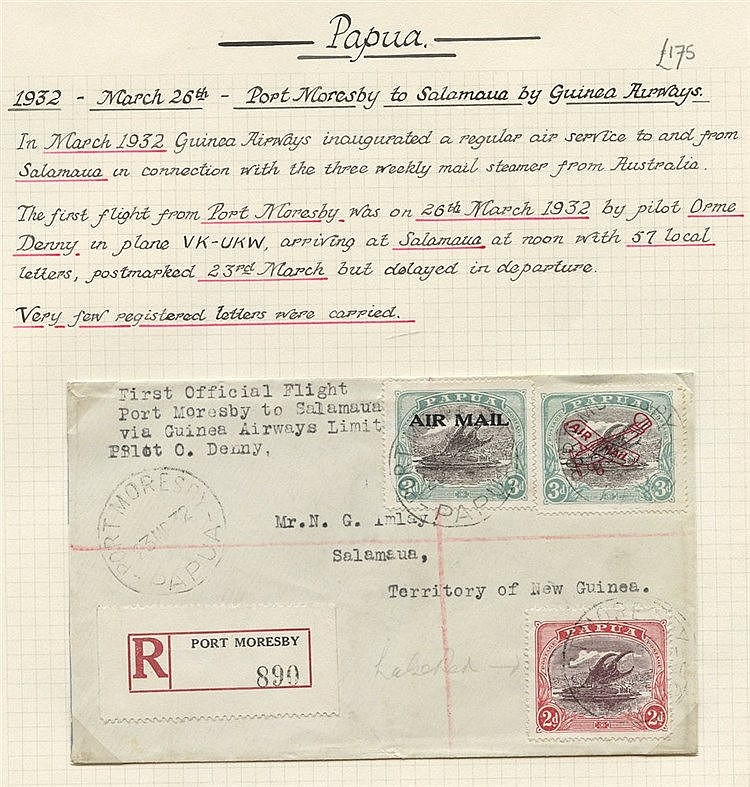 1932 (Mar 26) Port Moresby-Salamaua registered flown cover by pil