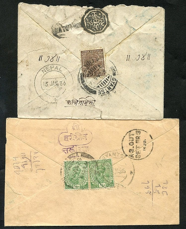 1920-30's group of covers used Gyantse, Tibet to Nepal, arrival m