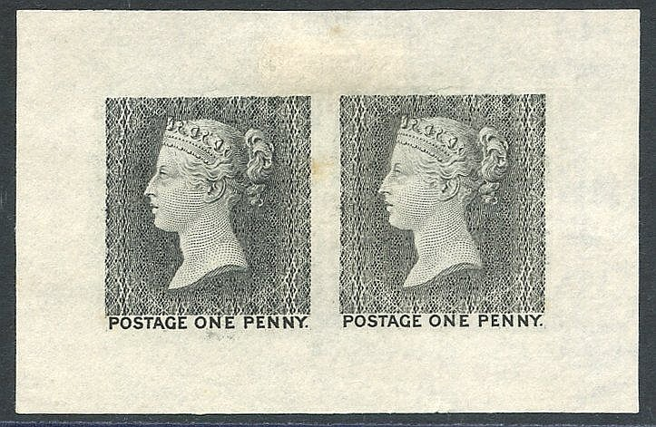 The First (later rejected) Die for the One Penny Stamps. 1902 rep
