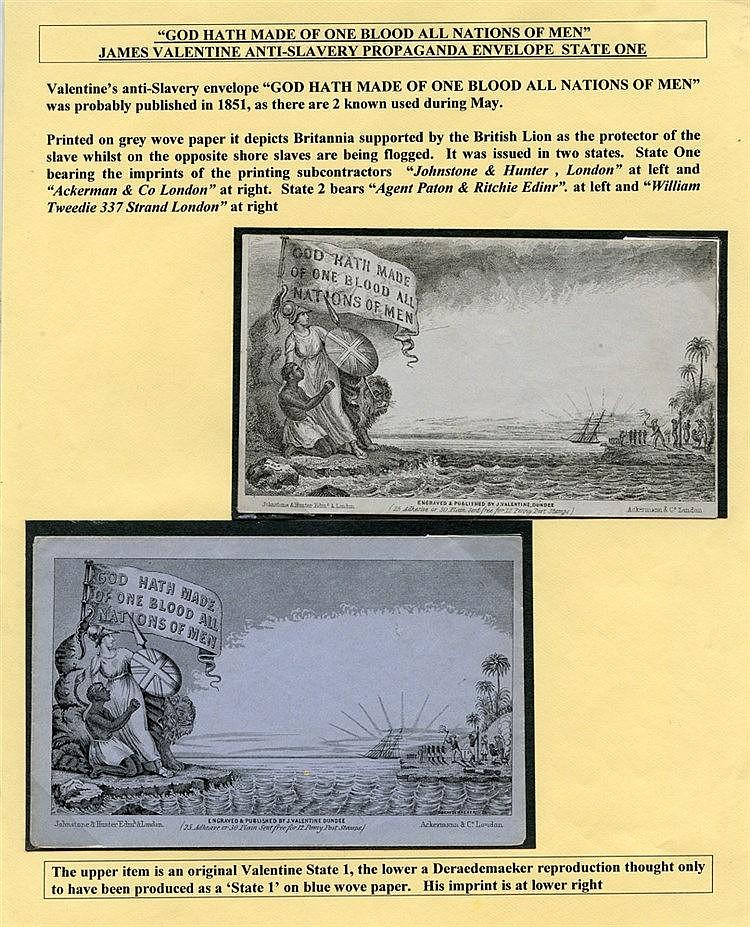 1851 Valentines Anti Slavery Propaganda Envelope State 1, fine un