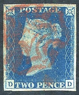 Plate 2 DD, four good to large margins, cancelled by a fine red M