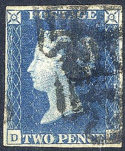 Plate 2 DE, clear to good margins, cancelled two black MC's. (1)