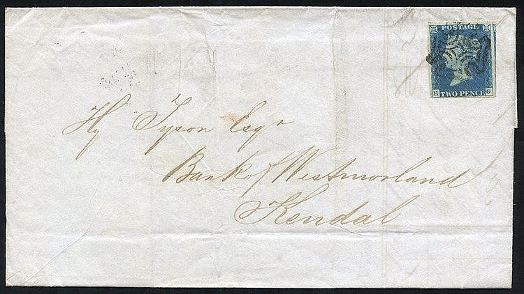1842 Aug 17th cover from Huddersfield to Kendal franked Pl. 2 HG,