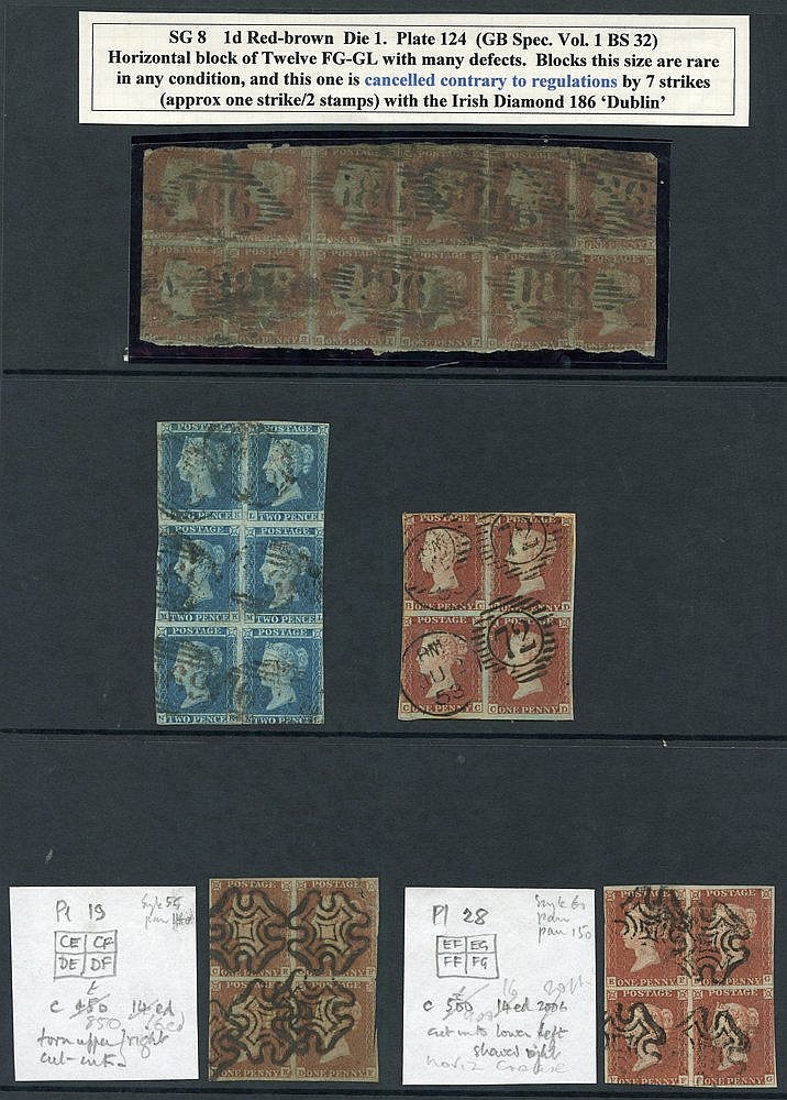 1841 1d red BLOCKS OF FOUR - Pl.19 CE/DF, Pl.28 EF/FG, unplated B