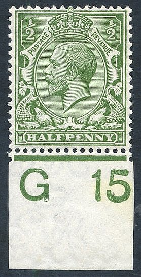 1912 ½d olive green, UM Control single (G 15 Imperf), Spec.N14(12