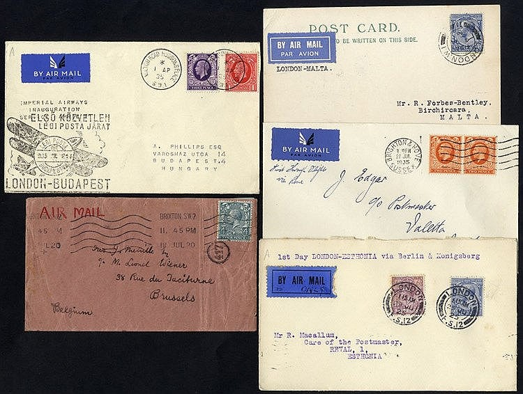 1920-35 five airmails comprising 18th July 1920 London - Brussels