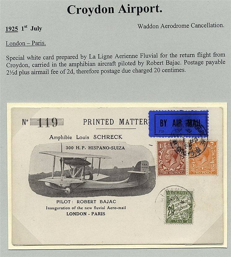 1925 July 1st BAJAC flight Waddon Aerodrome London - Paris specia
