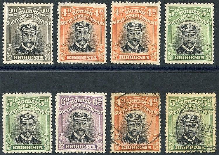 1913-22 Admirals Die I Perf 14 vals comprising 2d, 4d (2), 5d (2)