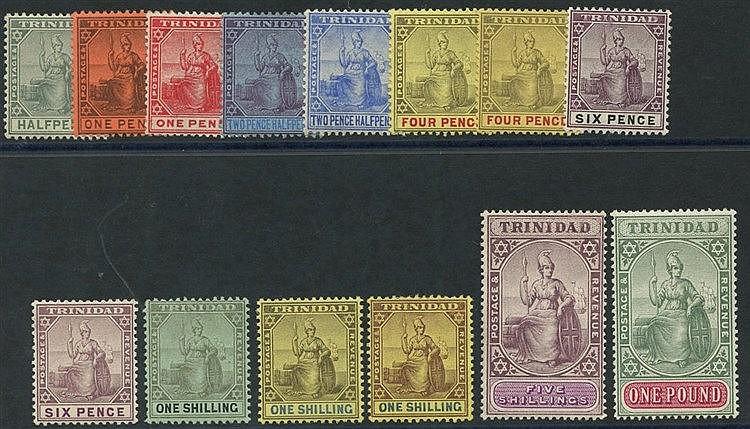 TRINIDAD 1904-07 MCCA set, fine M, SG.133/145. (14) Cat. £475