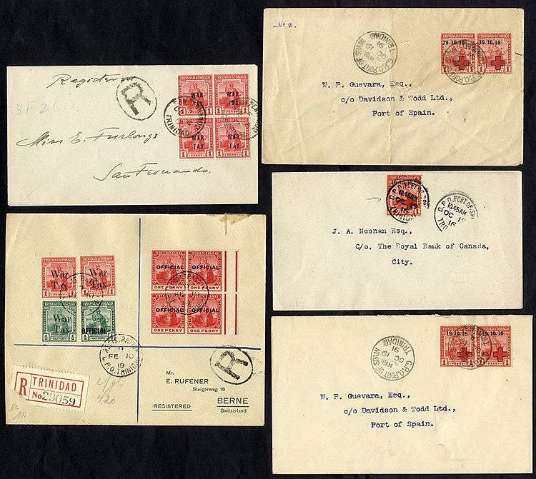 1919 five covers addressed either locally or USA or Switzerland b