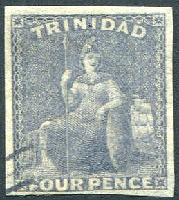 TRINIDAD 4d grey lilac, VFU four margin example, SG.25. (1) Cat.