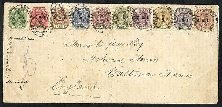 1900 VRI ovpt set to 10s (excl. 5s) used on cover to GB, cancelle