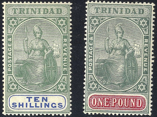 TRINIDAD 1896-1906 10s & £1, both fine M, dealer h/stamp on rever