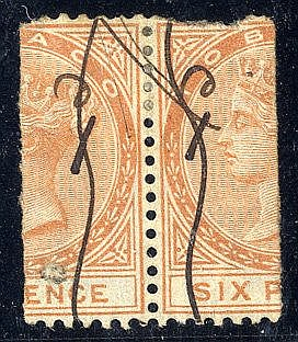 TOBAGO 1880 1d on half 6d orange pair, each neatly cancelled with