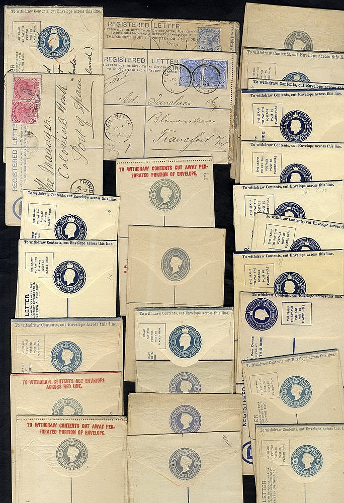 TRINIDAD 1884-1960 registered stationery envelopes (28) incl. 4 p