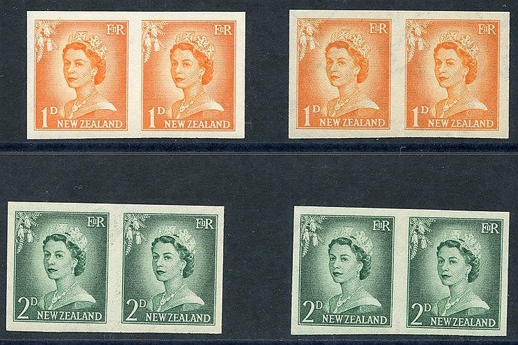 1955-59 QEII defin imperforate pairs on gummed watermarked paper