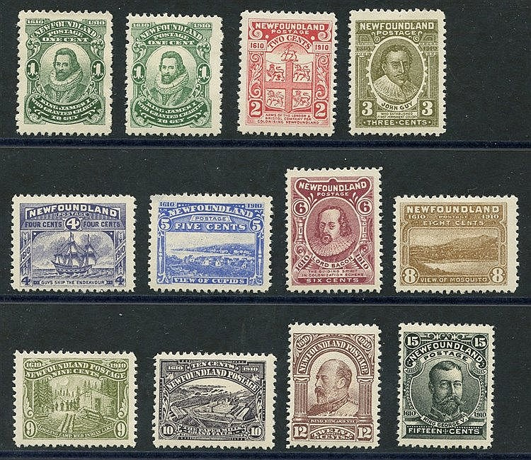 1910 set of ten + 'JAMRS' variety, all fresh M, SG.95/105 +95b. (