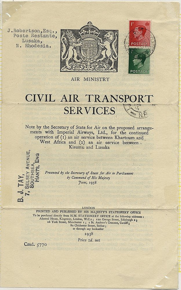 1938 June 30th GOVERNMENT WHITE PAPER flown Southampton - Lusaka,