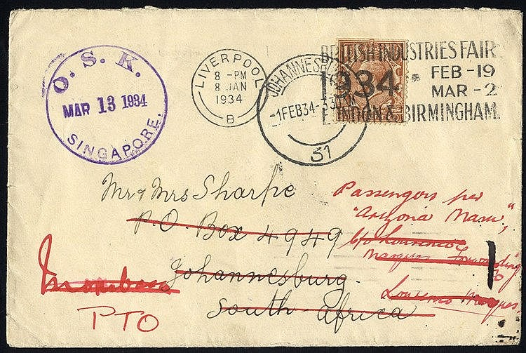1934 re-directed GB cover to South Africa & Mombasa, failing to c