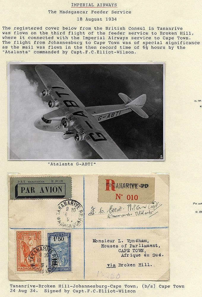 1934 Aug 18th flown reg cover from British Council in Tananarive