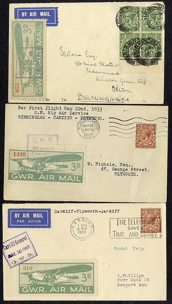 1933 GREAT WESTERN RAILWAY May 15th first official flight Cardiff