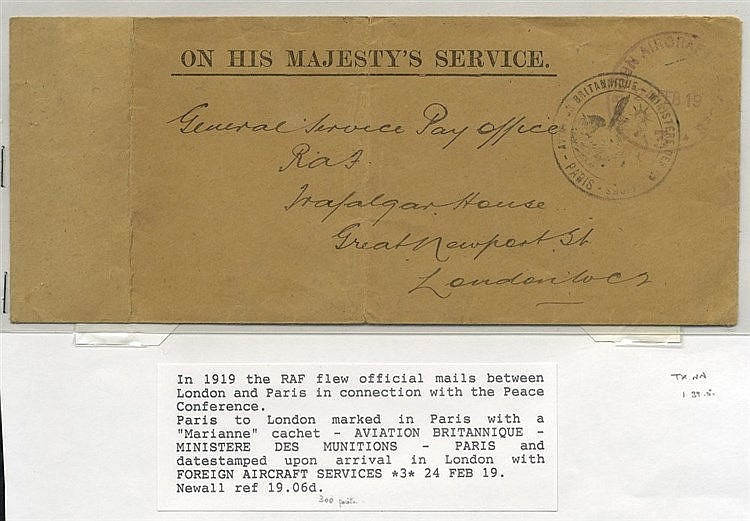 1919 Feb 24th RAF flown cover during Peace Conference Paris - Ken