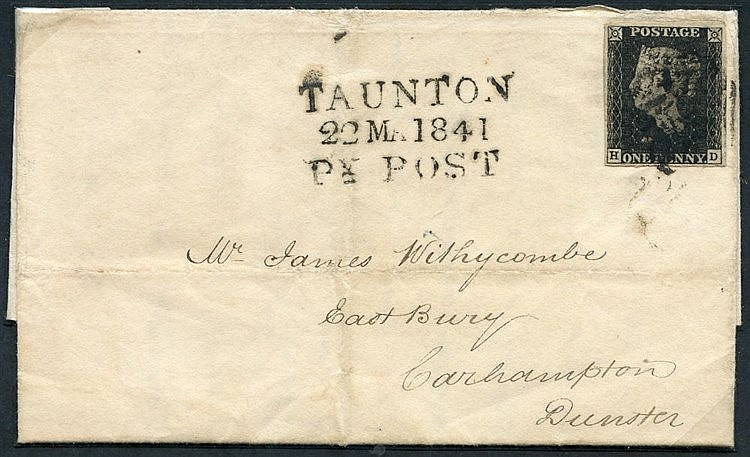 1841 March 22nd cover from Taunton to Dunster, franked Pl.8 HD, f