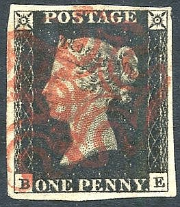 Plate 1b BE, four good margins, cancelled by two red MC's. (1)