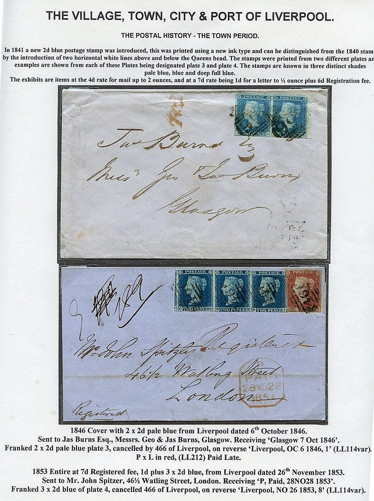 1846-57 entire letters bearing 2d blues, incl. 1853 registered co