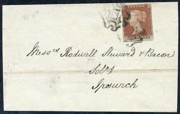 1843 wrapper from Norwich to Ipswich, franked PL.19 GC, clear to