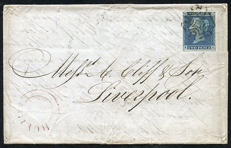 1842 July 8th cover from Huyton to Liverpool franked Pl.3 EK - sh