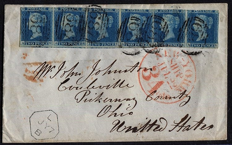 1848 envelope from Sandbach to Ohio, USA, franked 1841 2d Pl.3 AG