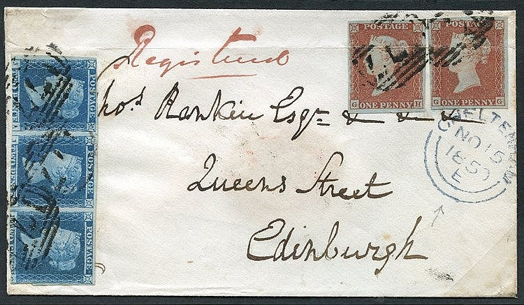 1850 Nov 15th registered cover from Cheltenham to Edinburgh with