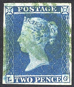 Plate 4 LG, good to large margins, cancelled by a greenish 1844 T