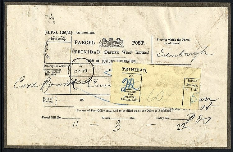 c.1903 Parcel Post Customs Declaration labels, used to Scotland,