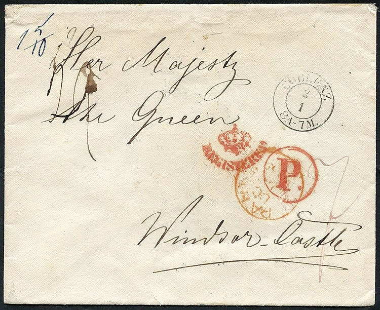 1865 envelope from Coblenz showing a red London Crown registered