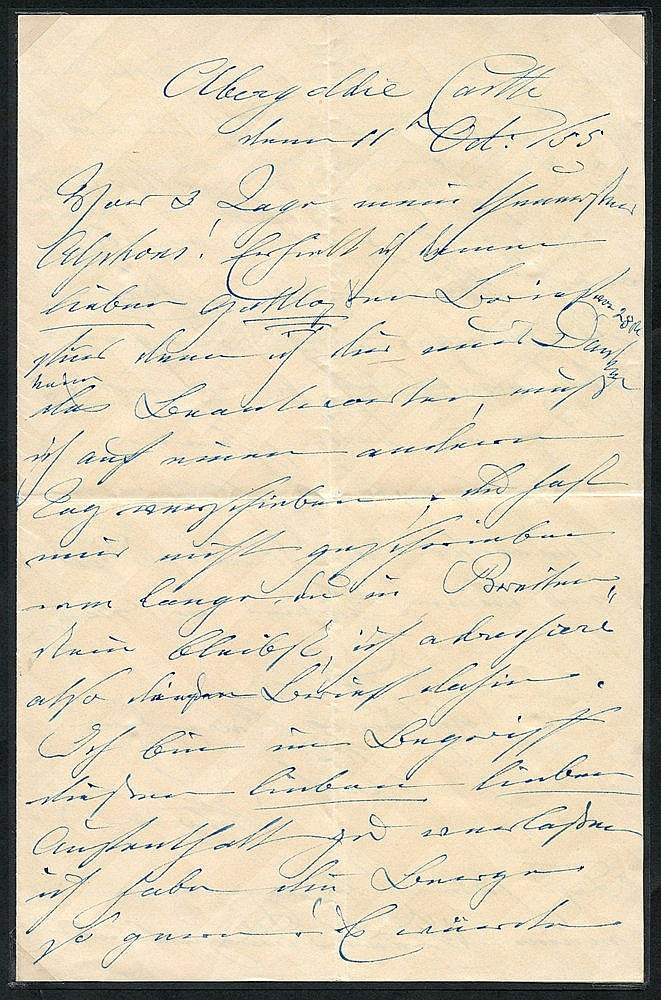 1855 letter written & signed Victoria (Duchess of Kent - QV mothe
