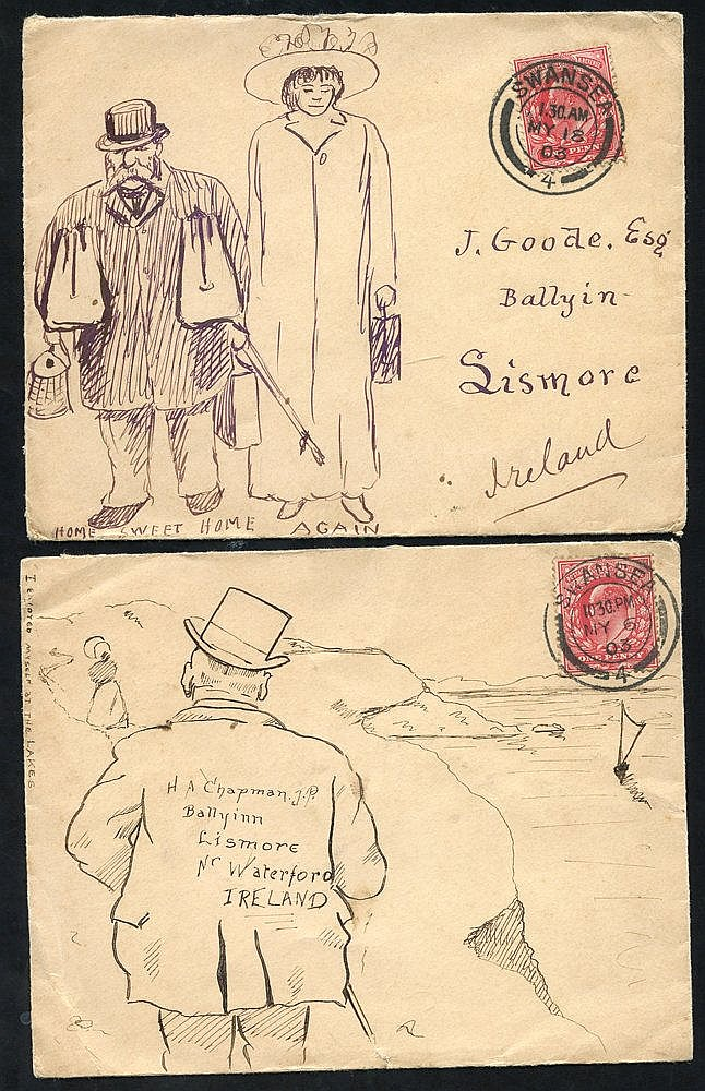 1903 two envelopes sent Swansea to Lismore, Ireland, each franked
