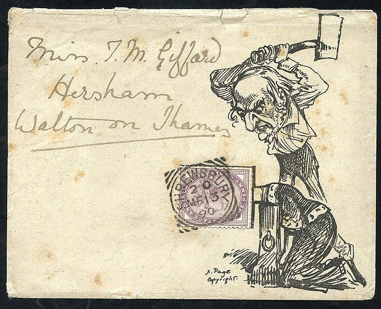 1890 envelope to Walton on Thames franked 1d lilac affixed to the