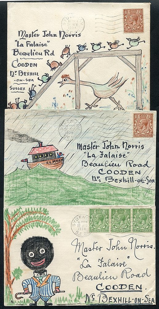 1933-36 hand coloured illustrated envelopes addressed to Master J