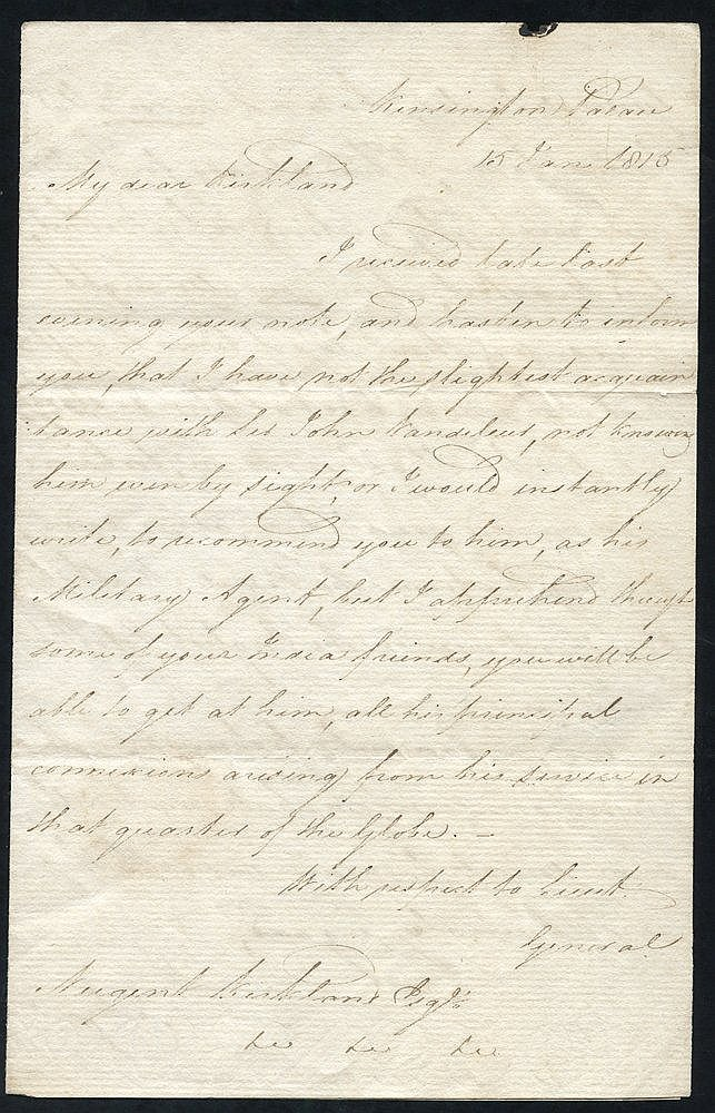 1815 letter from Kensington Palace, signed Edward - Duke of Kent
