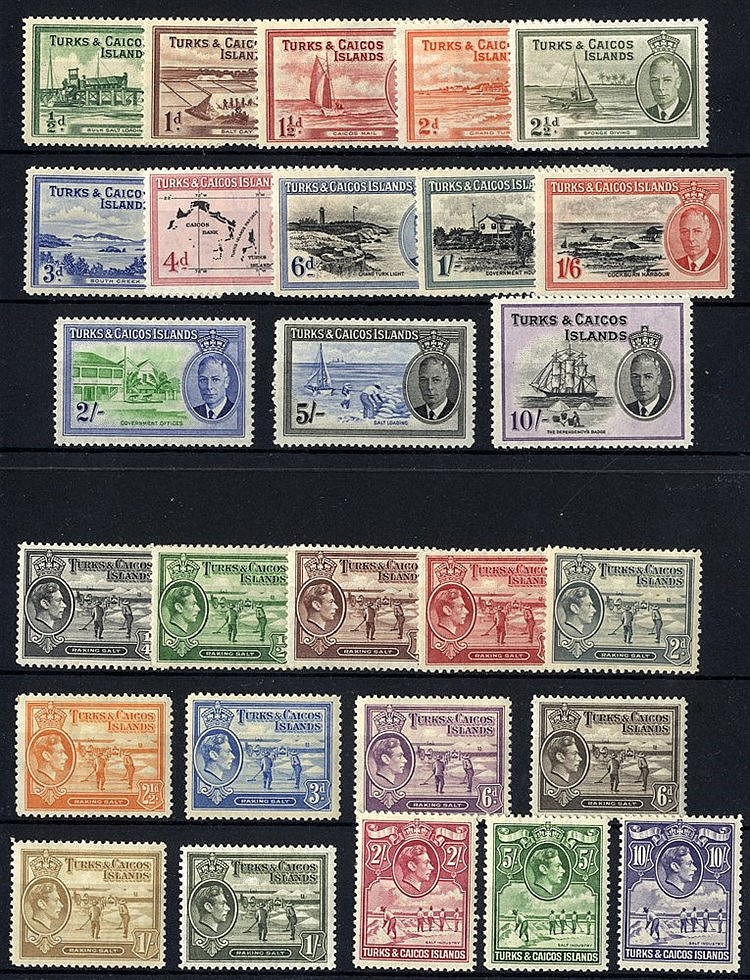 1938 & 1950 KGVI Defin sets M, SG.195/205 & 221/233. (27) Cat. £2
