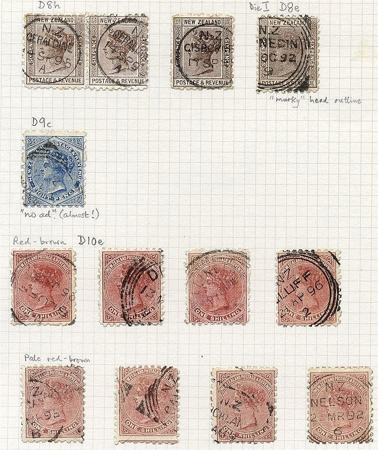 1891-95 QV Profile Heads P. 10 fine to FU range on leaves, from ½
