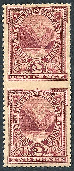 1898 2d lake imperf between vertical pair, top stamp creased, & g