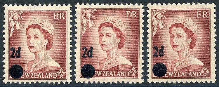 1958 2d on 1½d Error Surcharge on SG.725, three M examples (2x UM