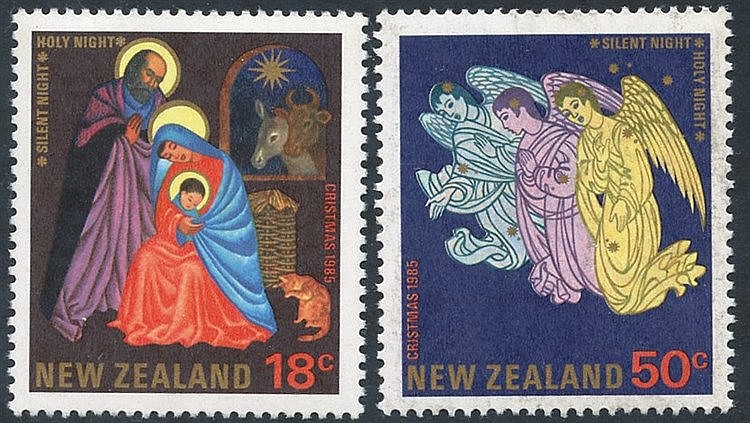 1985 Christmas 18c & 50c, both showing the 'CRISTMAS' error, UM,